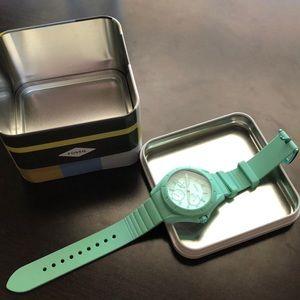 Sea foam green fossil watch